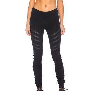 ALO Goddess Leggings Moto Striped Black Yoga Pants